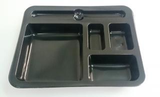 Секционный лоток для суши 227×178×30 мм черный