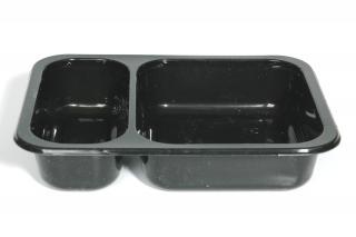 Лоток под запайку 187×137×36 мм черный 2 секции