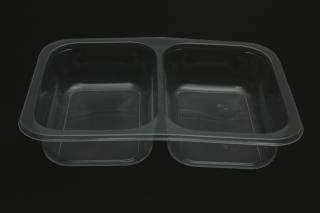 Лоток под запайку 187×137×37 мм прозрачный 2 секции 50-50
