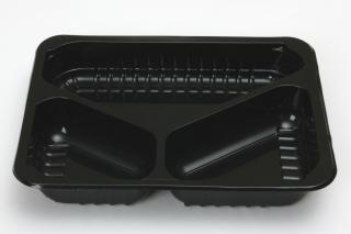 Лоток под запайку 227×178×35 мм черный 3 секции
