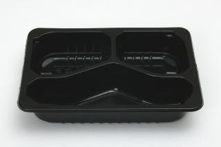 Лоток под запайку 210×148×40 мм черный 3 секции