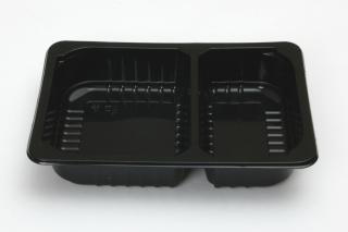 Лоток под запайку 210×148×40 мм черный 2 секции
